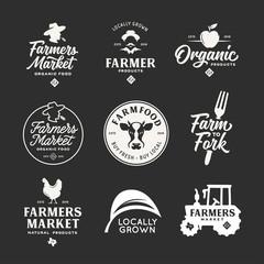 Farmers market labels emblems badges set. Vector vintage illustration.