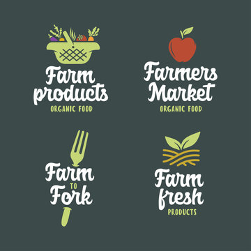 Farm related emblems set. Vector vintage illustration.