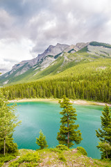 Wall Mural - View at the mountains near Minnewanka Lake in Banff National Park in Canada