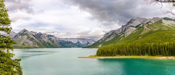 Wall Mural - Panoramic view at the nature around Minnewanka Lake in Banff National Park of Canada