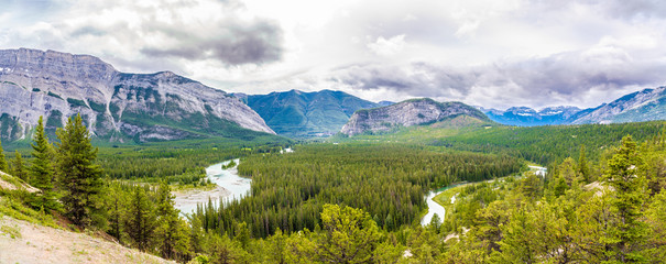 Wall Mural - Panoramic view at the Valley of Bow river from Hoodoos view point in Banff National Park - Canadian Rocky Mountains
