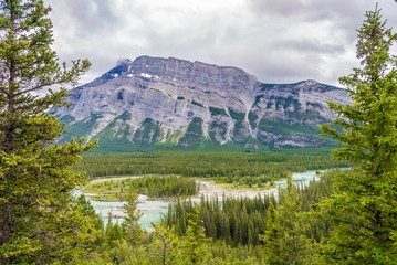 Wall Mural - Valley of Bow river from Hoodoos view point in Banff National Park - Canada