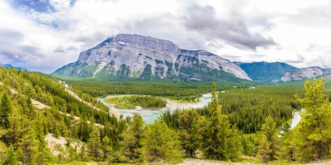 Wall Mural - Panoramic view at the Valley of Bow river from Hoodoos view point in Banff National Park - Canada