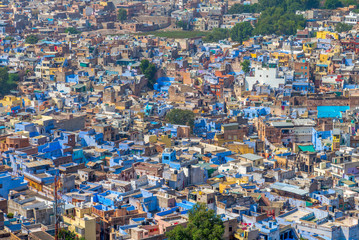 aerial view of jodhpur, the blue city in rajasthan