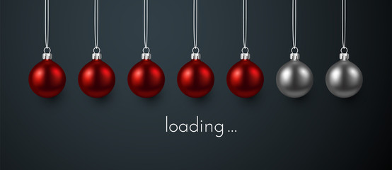Loading Christmas or New Year poster with red Christmas balls. Wall mural