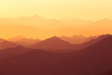 Foto op Aluminium Bordeaux A beautiful, colorful sunrise sceney in mountains in purlpe tone. Abstract, minimalist landscape in Tatra mountains. Color gradients. Tatra mountains in Slovakia, Europe.