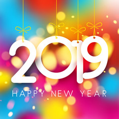 Bright colorful 2019 Happy New Year poster.