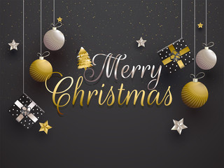 Poster or banner design decorated with hanging baubles, gift boxes and stars for Merry Christmas festival celebration.