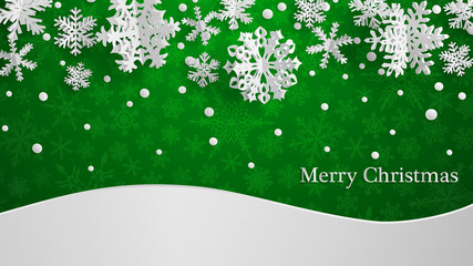 Christmas illustration with white three-dimensional paper snowflakes on green background with snowdrifts Wall mural