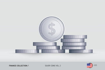 Silver coins. Realistic United States Dollar coin standing on stacked coins. Finance concept for websites, web design, mobile app, infographics.