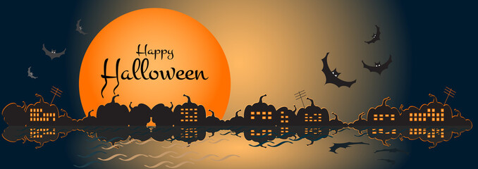 Illustration of a happy halloween banner with halloween city scene. Website spooky or banner template.Vector illustration