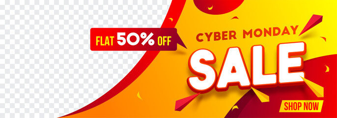 Website header or banner design with 50% discount offer for Cyber Monday Sale. Advertising banner with space for your product image.