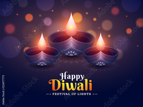 Happy Diwali Poster Or Banner Design With Illuminated Oil Lamps On