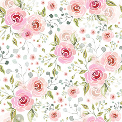 Pink rose flowers decorative florist seamless pattern background.