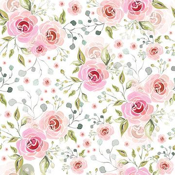 Pink rose flowers decorative florist seamless pattern background.