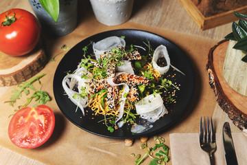 tuna and buckwheat noodle salad