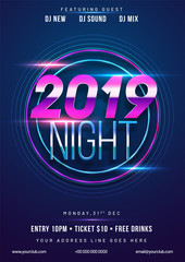 Shiny purple text 2019 Night on blue background with time and venue details for New Year celebration concept.