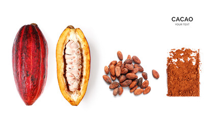 Creative layout made of cacao powder,  cacao fruit and cacao beans on the white background. Flat...