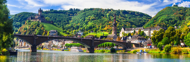 Landmarks of Germany -  medieval Cochem town, Rhine river Wall mural
