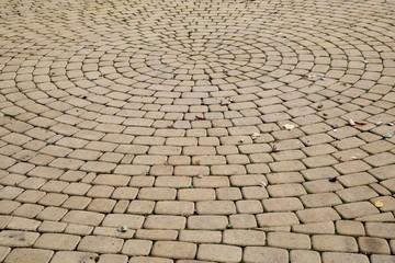 Stone sidewalk in the park.