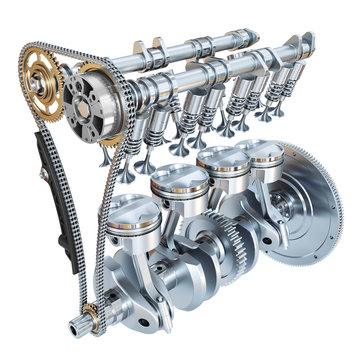 System of Internal combustion engine isolated on white background. 3d