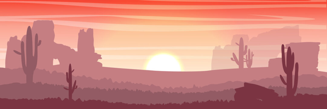 Desert. Silhouettes of cacti and rocks at sunset. Vector illustration.