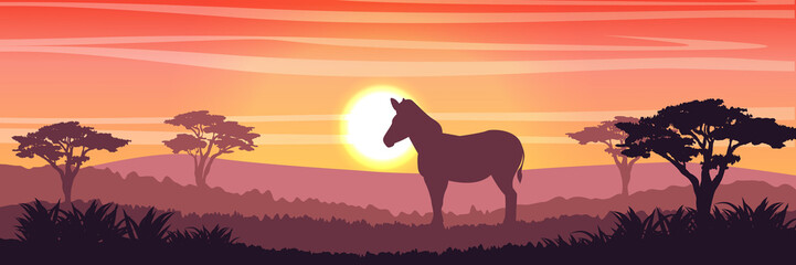 A zebra or a horse in savanna at sunset. Silhouettes of animals and plants. Realistic vector landscape. The nature of Africa. America. Reserves and national parks