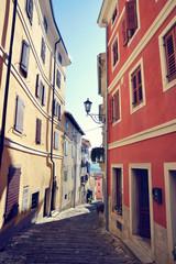 Street in small town Motovun in Croatia.