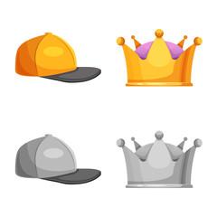 Vector design of headgear and cap symbol. Collection of headgear and accessory stock symbol for web.