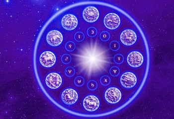Wall Mural - blue zodiac symbols with sun stars and universe background like sun astrology concept