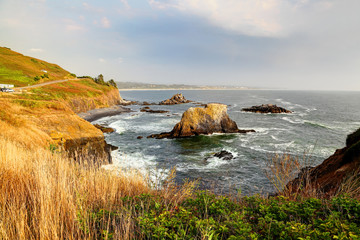 Along the Oregon Coast: Yaquina Head Outstanding Natural- cobble beach