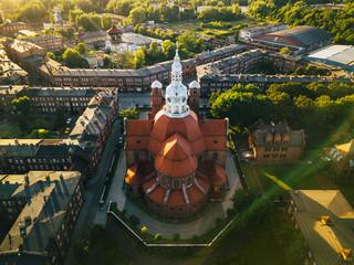 Katowice - Nikiszowiec Katedra z powietrza
