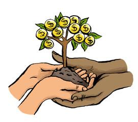 Multikulturelle Hände halten zusammen Geldbaum