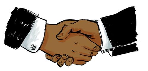 Business Partner Handschlag als Begrüßung oder Vertrag