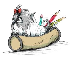 Terrier Hunde Welpe als Bleistift Zeichnung