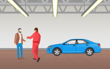 Worker Giving Keys to Client Vector Illustration