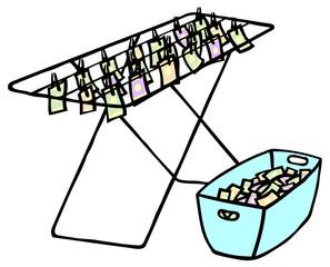 Geld trocknen auf Wäscheleine als Geldwäsche Konzept