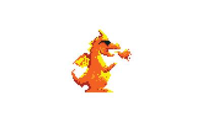 Pixel Art Dragon Logo Vector icon
