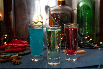 colorful cocktails shots, Christmas