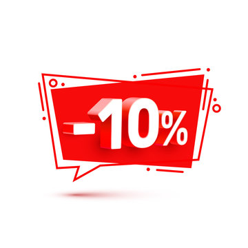 Banner 10 off with share discount percentage, color set. Vector illustration