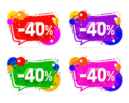 Banner 40 off with share discount percentage, color set. Vector illustration