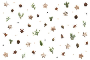 Christmas Pattern With Cones, Stars And Twigs