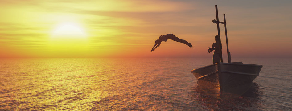 woman jumping to the water 3d illustration