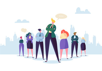 Group of Business People Characters with Leader. Teamwork and Leadership Concept. Successful Businessman Stand Out in Front of Flat People. Vector illustration