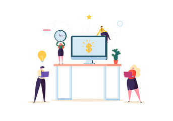 Flat People Characters Working in Office with Computer and Plants. Modern Workspace Workplace with Desk and Business People. Vector illustration