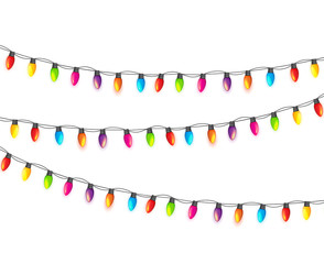 Multicolored Garland Lamp Bulbs Festive Isolated