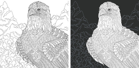 Eagle. Coloring Page. Coloring Book.