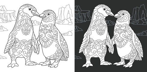 Penguin couple in love. Coloring Page. Coloring Book.