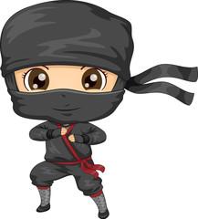 Kid Boy Ninja Costume Illustration