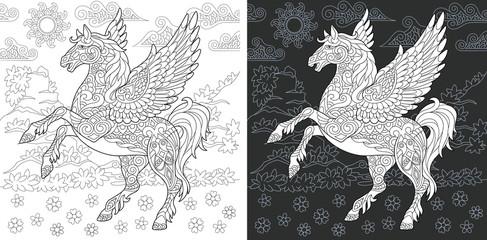 Fantasy pegasus. Coloring Page. Coloring Book.